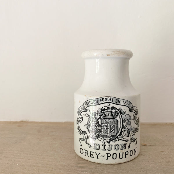 Branded French Stoneware Mustard Jar