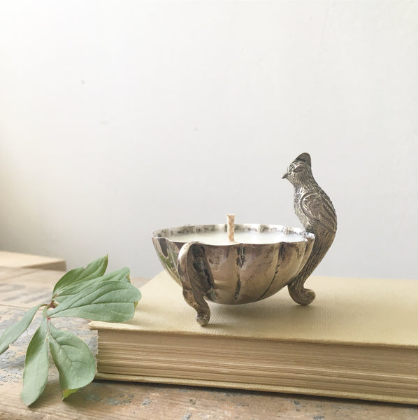 Pewter Bird Salt Pot Candle in Black Tea & Jasmine