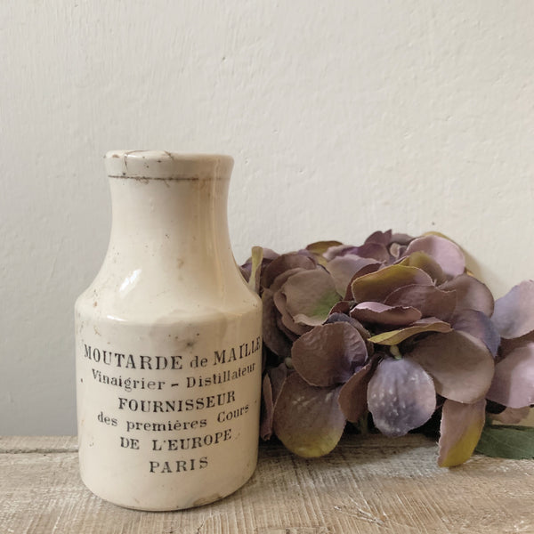 Branded Antique French Sarreguemines Stoneware Mustard Jar