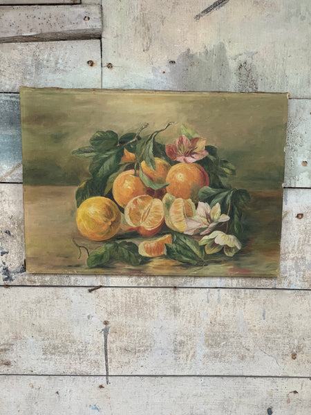 1930s Oil Fruit & Flowers on Canvas