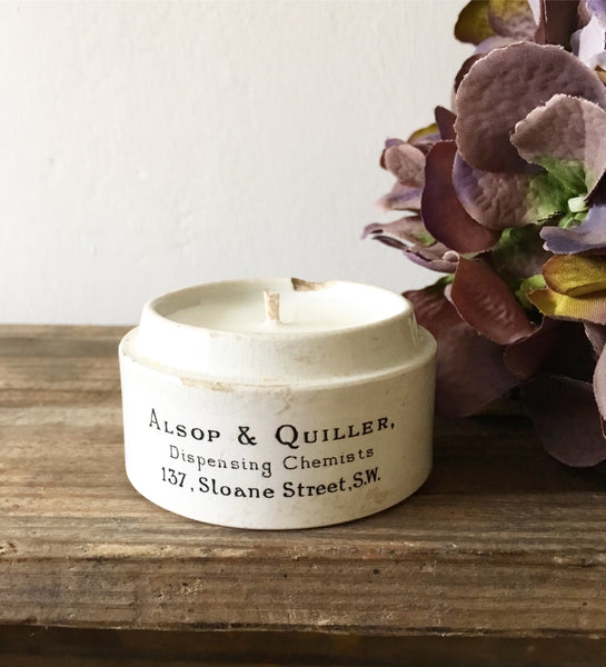 Vintage Alsop & Quiller Chemist Pot Candle in Green Tomato Leaf