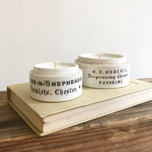 Vintage Chemist Pot Candles in Earl Grey & Cucumber