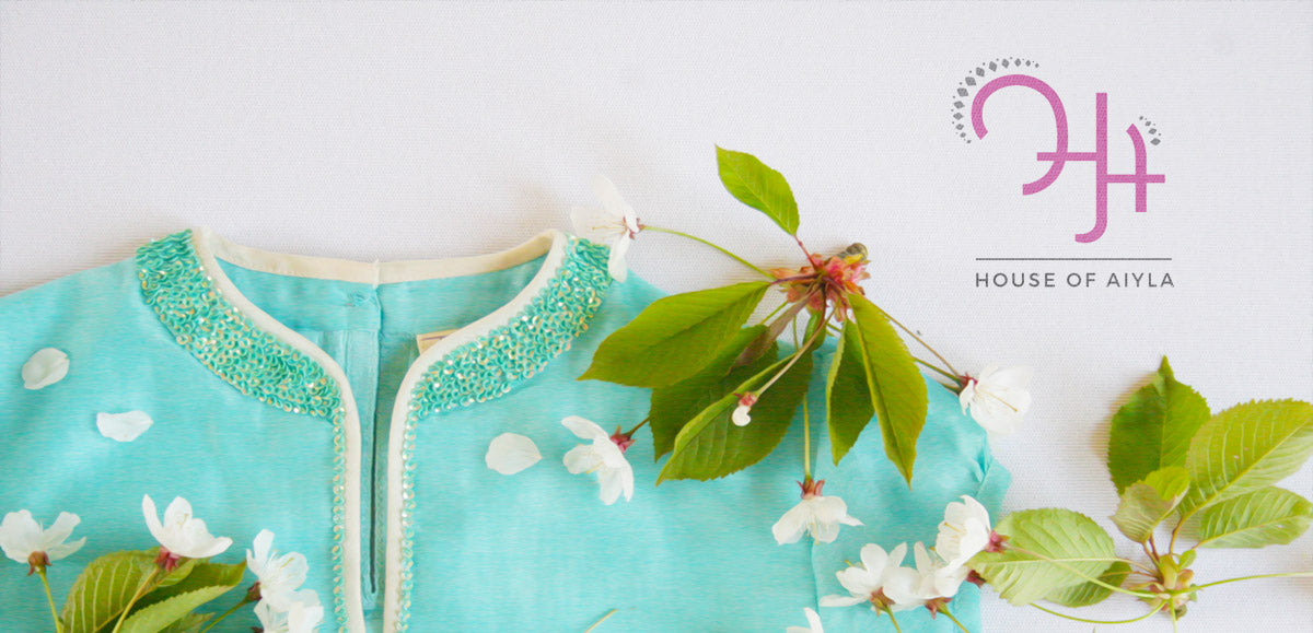 Blue chanderi silk girls lehenga top and stole designed with screen printed protea motif on the skirt