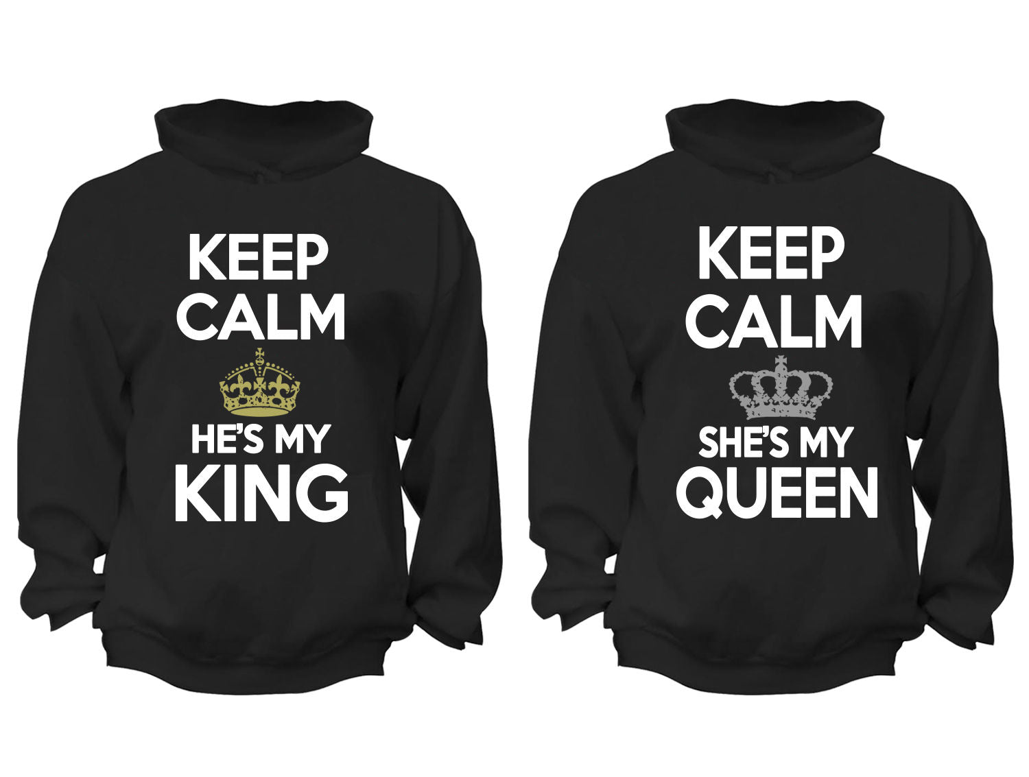 1490d37a36 XtraFly Apparel King Queen Rey Reina Valentine's Matching Couples Hooded- Sweatshirt Pullover Hoodie