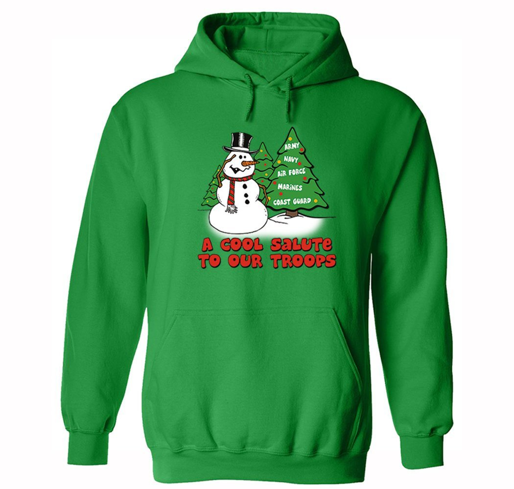 low priced a304f efdd3 XtraFly Apparel Men's Snowman Salute Our Troops Army Military Ugly  Christmas Hooded-Sweatshirt Pullover Hoodie