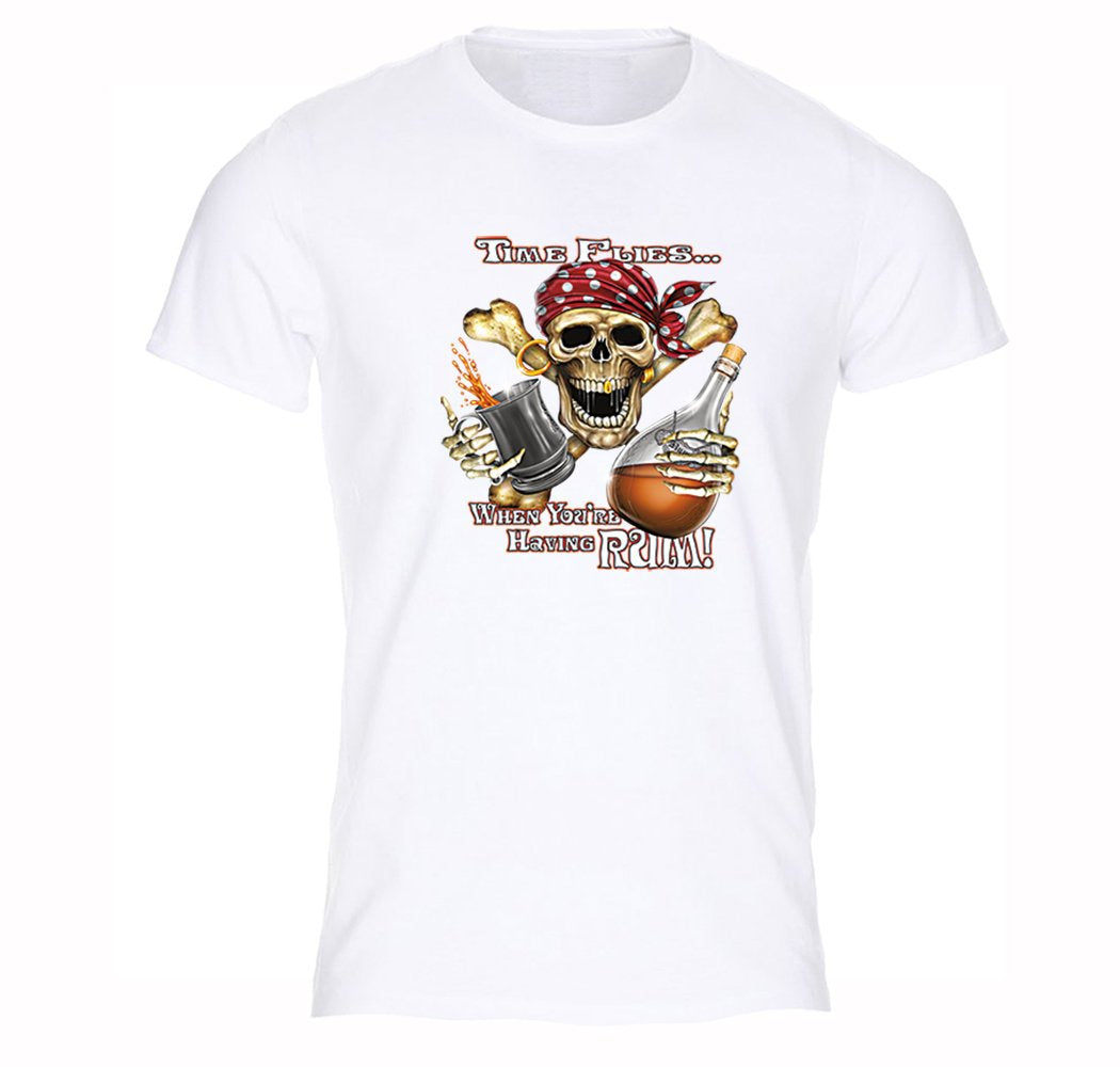 Mens Time Flies Having Rum Pirate Skull Crossbones Gift Gaspar Gold Ship T-Shirt
