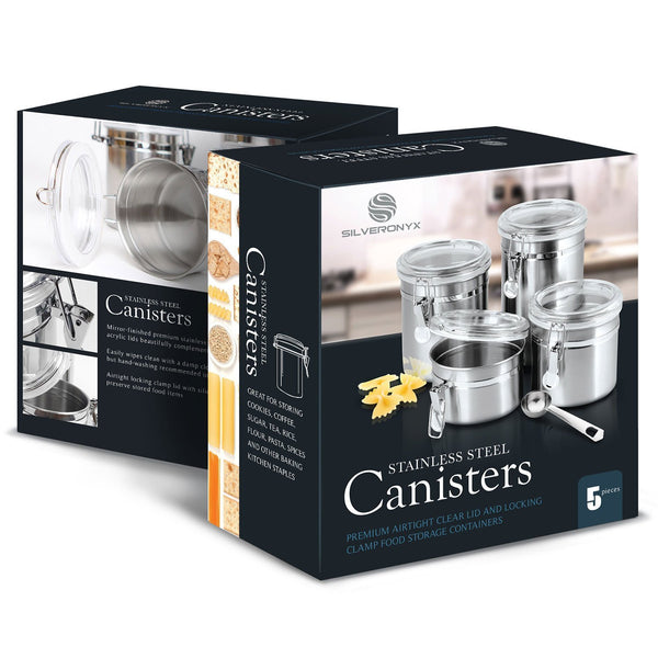 Stainless Steel Canister Set with Clear Latching Lids