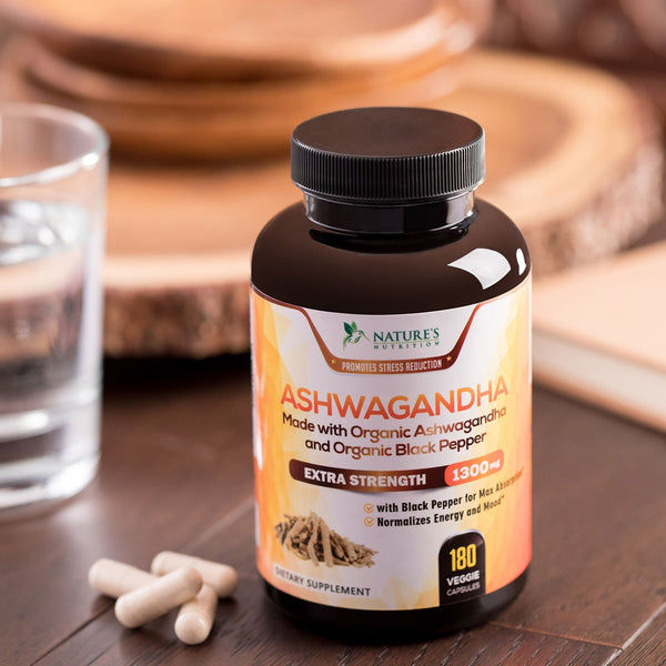 Organic Ashwagandha Root Powder Max Potency 1300mg - Certified Organic Ashwagandha with Black Pepper Extract for Best Absorption, All Natural Anti-Stress, Anxiety Relief Supplement (60 Capsules)