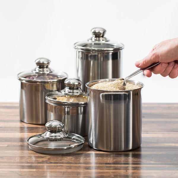Stainless Steel Canister Set with Tempered Glass Lids