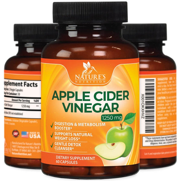 Extra Strength Apple Cider Vinegar Pills (1250mg)  All Natural for Weight Loss, Detox, Digestion & Metabolism Booster  Pure Gentle Cleanser, Premium Non-GMO by Natures Nutrition - 60 Capsules