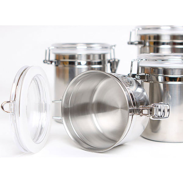 Stainless Steel Canisters with Clear Latching Lid