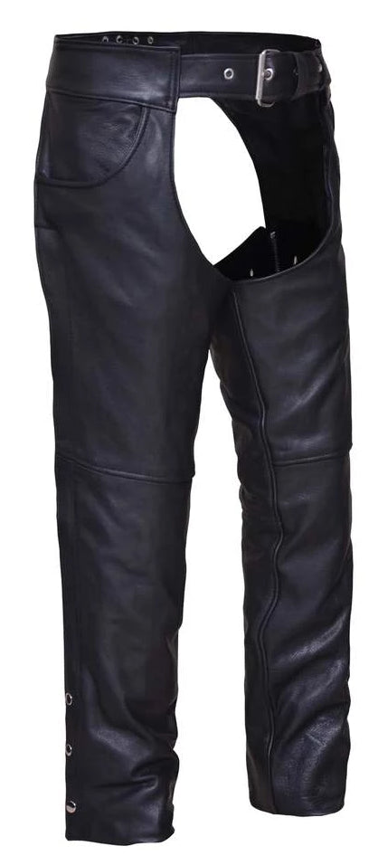 Jean pocket black leather chaps are made from soft, milled cowhide and are perfect for motorcycle riding in milder weather.  They have a nylon non-removable liner down to the knee. They have a belt closure with a lace waist adjustment in the back.  Zipper runs down the outer leg from hip to just below knee, snaps run rest of leg length.  They are available for purchase in our shop in Smyrna, TN, just outside of Nashville