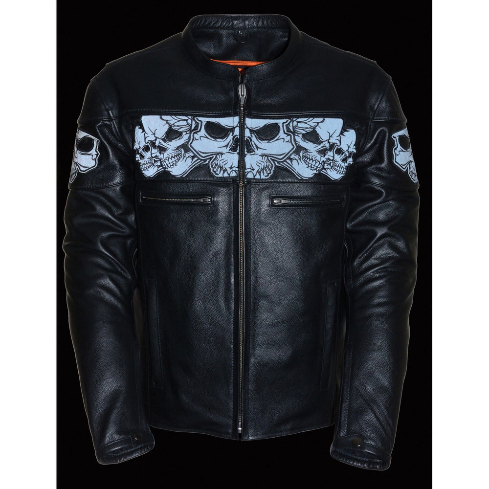 Night time reflective view of black leather riding jacket with skulls pictured around torso.  Front has zippered closure and 2 small exterior zippered pockets.  Sleeves have zippers and snaps at wrists. Available for purchase at our leather shop in Smyrna, TN, near Nashville.