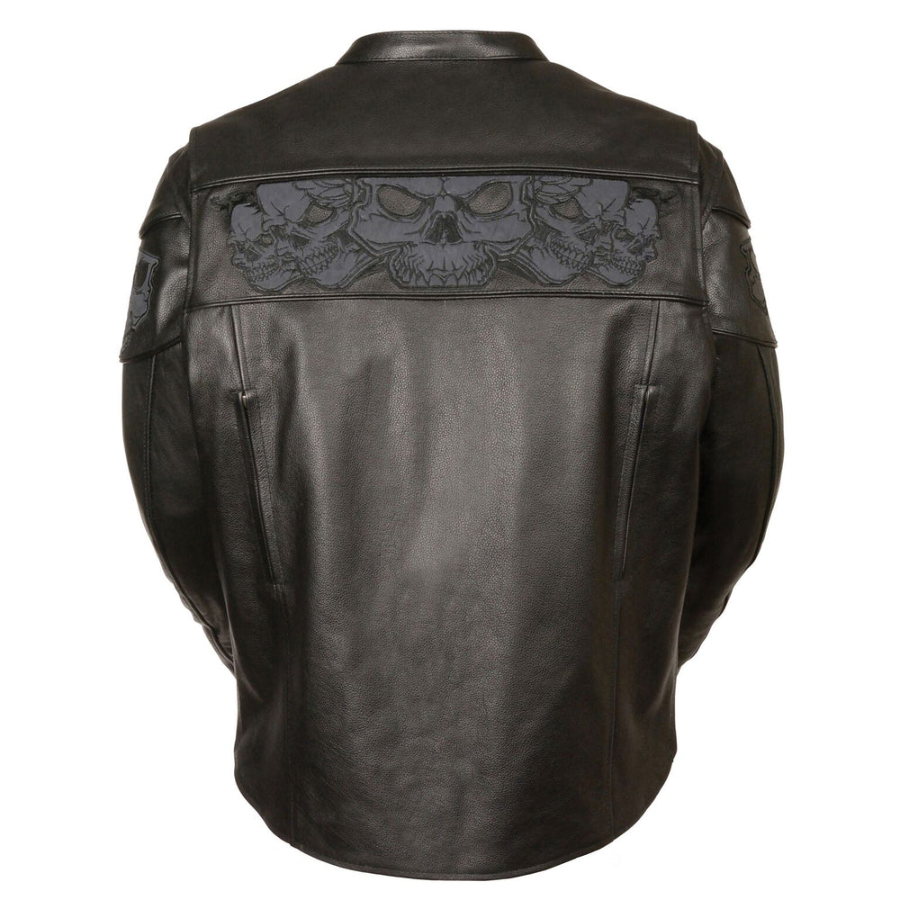 This heavy cowhide black leather motorcycle riding jacket has band of reflective skulls around the upper torso. It comes in sizes small through 5x and is available for purchase in our shop in Smyrna, TN, just outside Nashville.  It has multiple zippered pockets and vents and a zip out liner.  Back view showing zippered vents along back seams and reflective skulls across upper back.