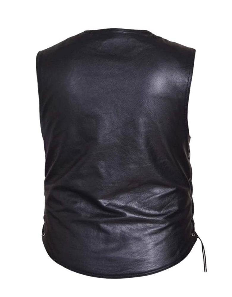 back view of Jean pocket black leather vest is made from premium buffalo hide leather. It has four exterior front pockets and two inside conceal carry pockets. It has a solid panel back and laces up the sides. Available for purchase in our shop in Smyrna, TN, just outside Nashville and comes in sizes small through 5xl.