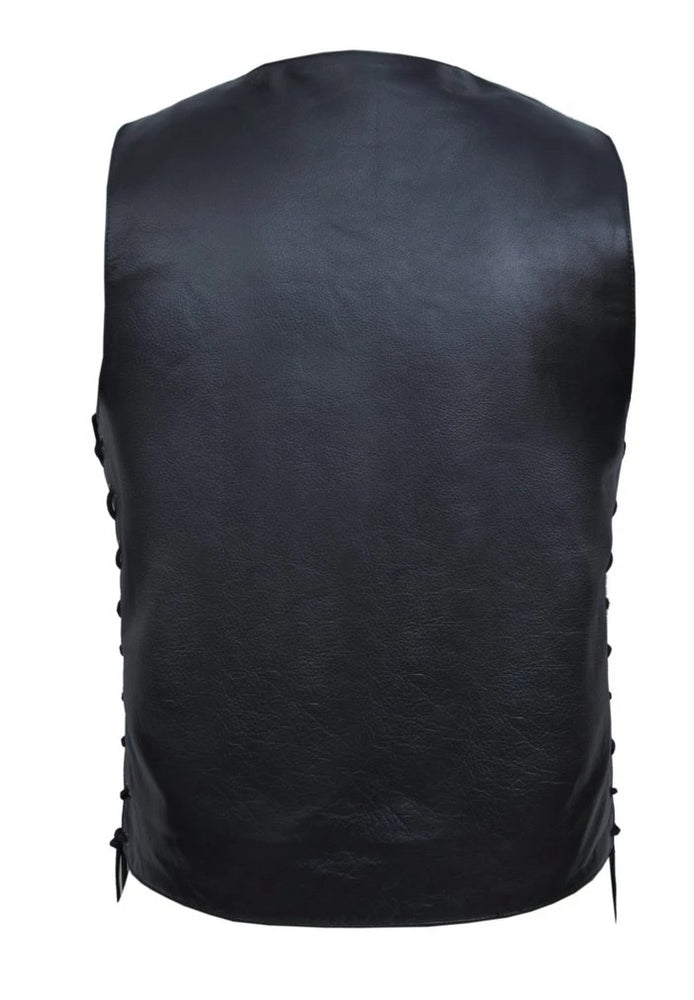 "back view of black leather riding vest comes in tall sizes and is made from premium buffalo hide leather. It has 10 pockets including inside carry conceal pockets. Length is approximately 4"" longer than regular sized vest. Back is one solid panel, available in sizes small through 5x. May be purchased in our shop in Smyrna,TN outside of Nashville.  It has a v-neck, snap front closure, and laces up the sides."