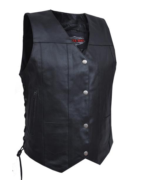 This lightweight cowhide black leather ladies' vest has a v-neck and snap front closure. It has side laces and a solid panel back, 4 front exterior pockets and 6 inside pockets including a concealed carry pocket on each side.  Available for purchase in our shop in Smyrna, TN, just outside Nashville.  Available in sizes small through 5xl.