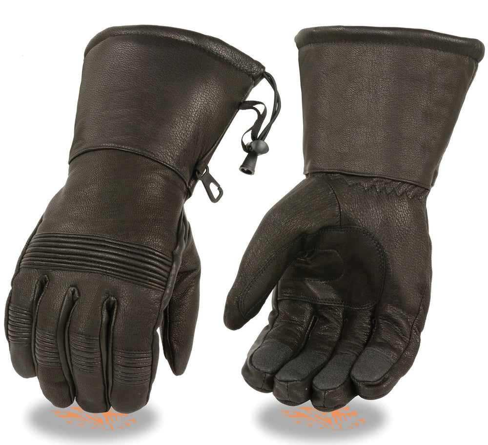 Heavy leather gauntlet glove