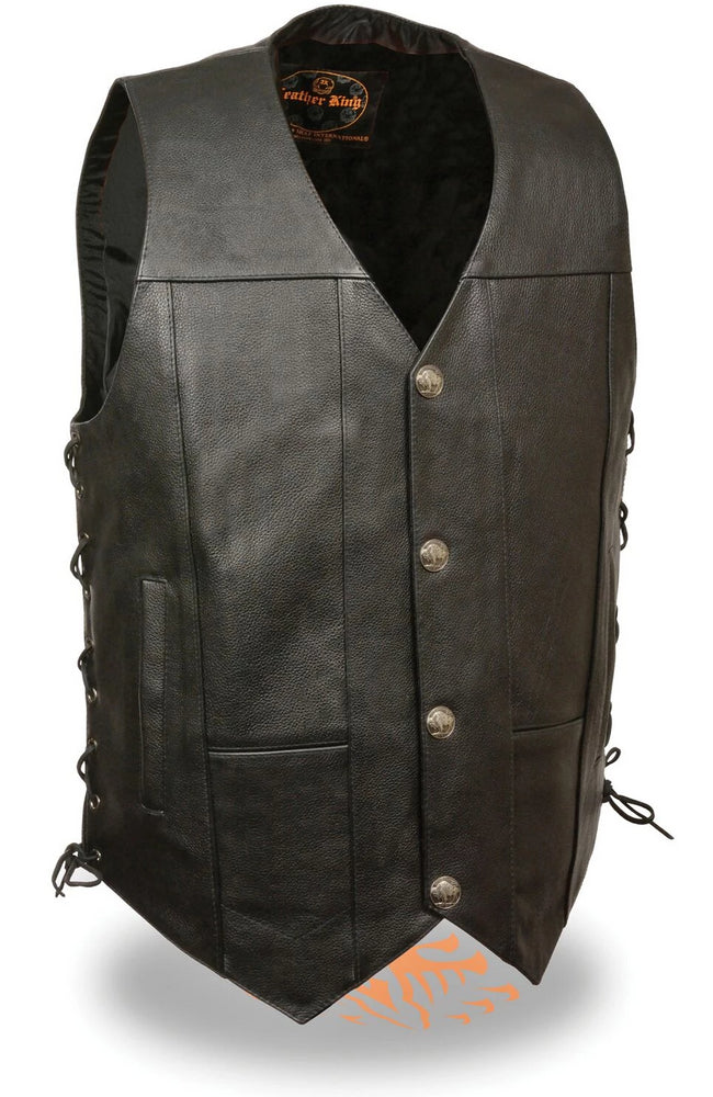 Buffalo Nickel Leather Vest with side laces