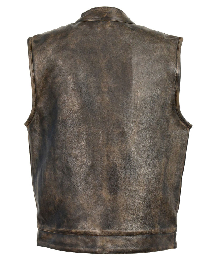 back view of Distressed look brown premium cowhide leather club style riding vest with concealed zipper and snap front closure.  Available for purchase inside our shop in Smyrna, TN, just outside Nashville.  It has inside front conceal carry pockets on each side and has a flap style jean vest style pockets on chest and side closure pockets on lower front. Available in sizes small to 5x