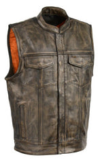 Distressed Brown Leather Club Vest