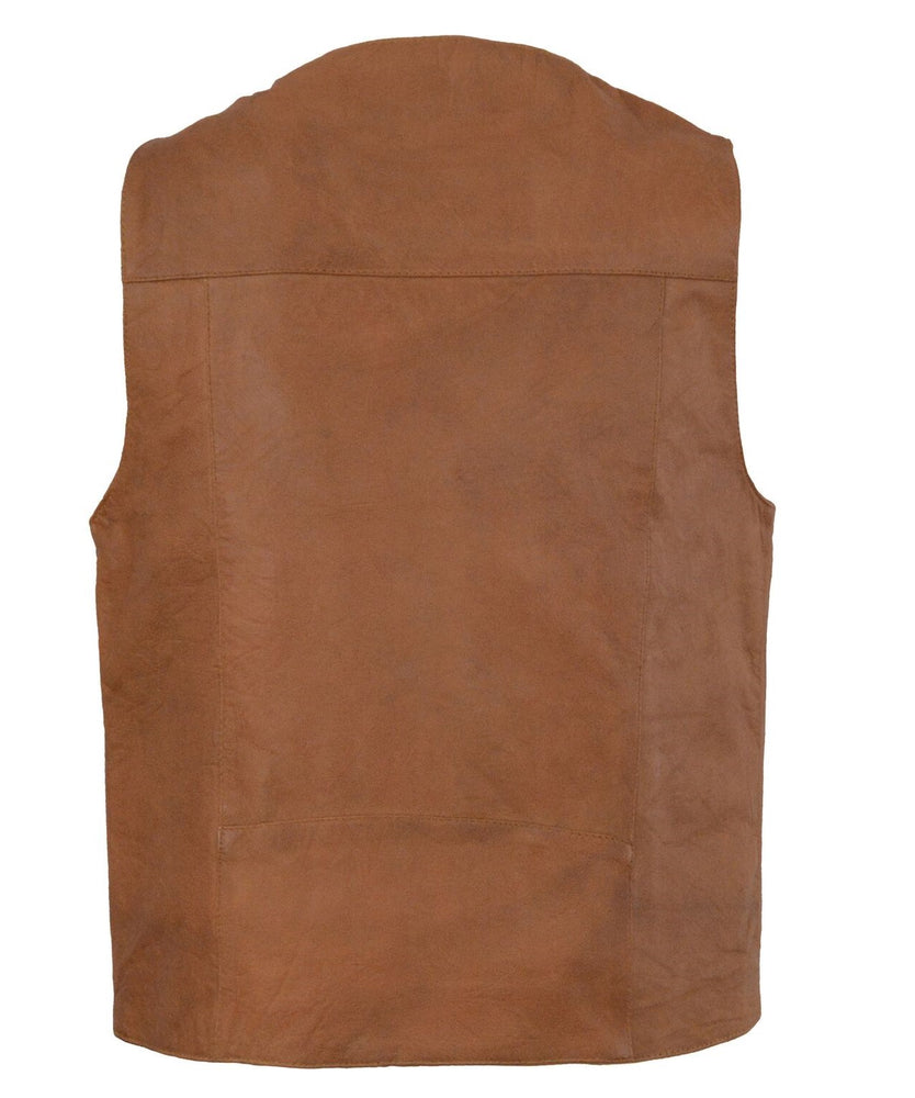 back view of Western style brown leather vest has v-neck and  snap front. It is made from soft cowhide with slightly distressed look.  It has 2 horizontal outside front lower pockets and conceal carry pockets on each inside front, back is stitched panels.  It has a mesh lining. Available for purchase in our shop in Smyrna, TN just outside of Nashville. Available in sizes small through 5x