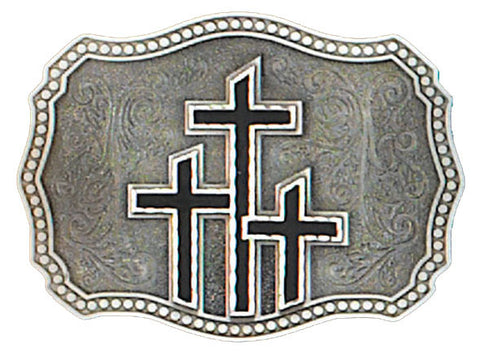 Pewter 3 Crosses Belt Buckle