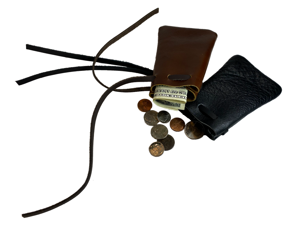 Leather pouch with drawstring. Available in Black and Assorted Brown. Email for other color availability. Available in multiple sizes. Perfect for marbles, coins, golf tees, rocks, camera lenses, poker chips, game pieces, It also perfectly fits a deck of cards etc. Made in USA