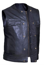 Premium NO COLLAR Leather Vest