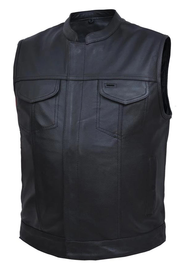 Black Leather Club Style Vest