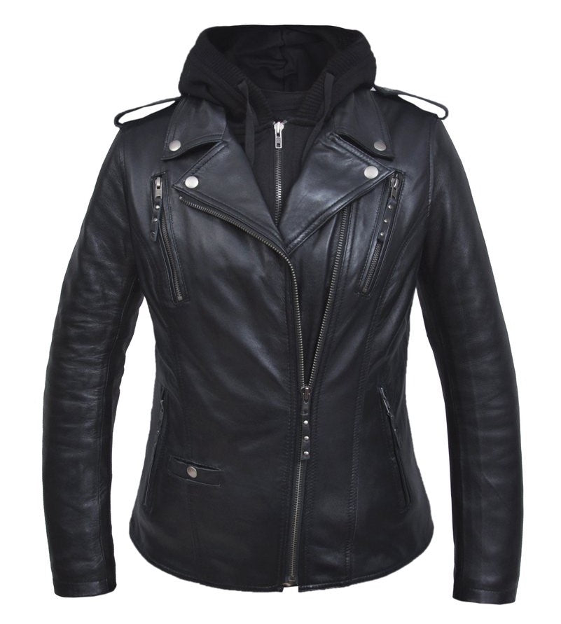 Ladies Black Leather Jacket with Hoodie