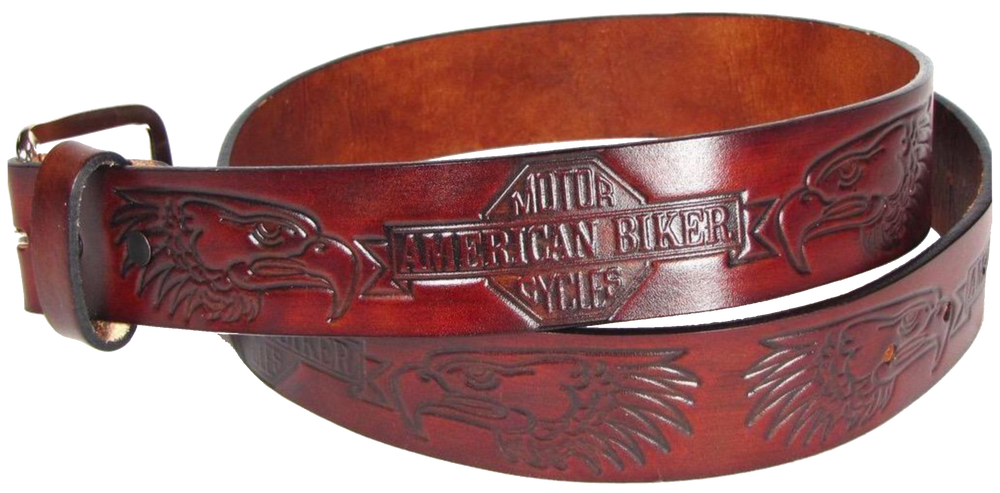 "This USA made veg-tan leather belt is approx. 1/8"" thick, 1 1/2""width with no fillers to split or rip apart. The belt features American Biker and Eagle heads embossed around the entire belt. The leather is comfortable from day one.  Buckle is silver colored and snapped on for easy buckle change. We don't make this belt but it's Buckle and Hide approved and still made in the USA"