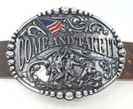 "Come and Take It motif buckle by AndWest has Come and Take It wording and pictures soldiers raising and American Flag. Decorative scrolling and designs around edges. Dimensions are 3 2/4"" tall by 4 1/4"" wide Made in Mexico Available in our online shop as well as in the retail shop in Smyrna, TN, just outside Nashville. Pictured on belt."