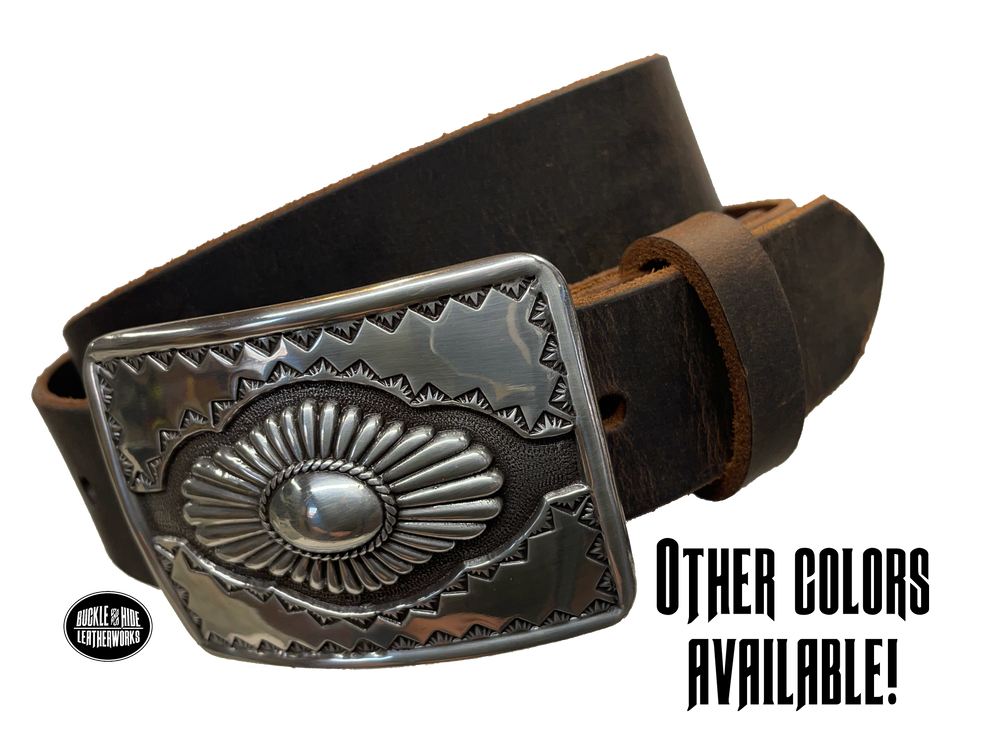 """The Agave"" is a Western style belt buckle that will add a classic western look to your belt. CHOOSE ONE BELT STRIP COLOR! The belt is made from a single strip of leather in our shop in Smyrna, TN, just outside Nashville. The buckle is imported. Available in our retail and online shops. Main photo."