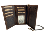 Popular Distressed brown Long Style Tri-fold Chain Wallet. 2 underneath cash slots, 14 card slots, I.D. slot, zippered pocket for all your important stash. Will darken with a nice patina with use. It's imported but it's Buckle and Hide approved. standard long tri-fold size. inside view