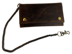 Distressed Brown Leather Long RFID Trifold Chain Wallet