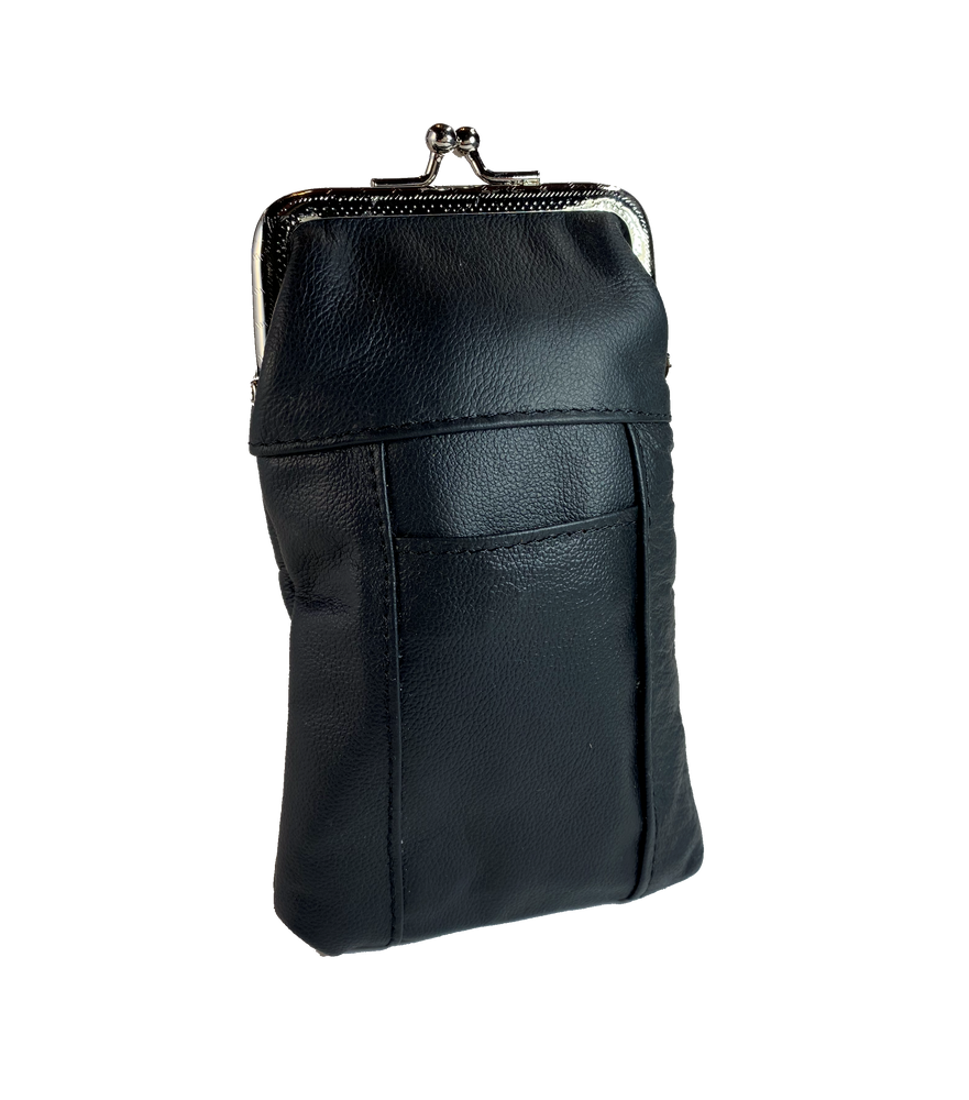 This is a versatile case it has a top pocket with clasp closure, plus a small slot for a bic style lighter pocket. Great for lots of stuff in a small compact case. Choose solid Black or Earth tones. Since we buy these assorted we will send whichever browns we have in stock.