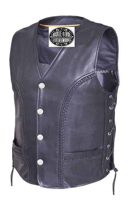 Men's Leather Vest with braided trim