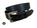 "This handmade, real leather belt starts with a drum dyed 9-10 oz. leather belt strip and comes with an Antique Silver colored buckle that is snapped in place. It is handmade in our Smyrna, TN shop, which is located just outside of Nashville. This black, full grain leather has a classic semi-gloss finish that looks great dressed up or down.  It has a smooth feel and has beveled and painted edges.  The single strip of leather will not tear or peel apart. It is 1 1/2"" wide and available in sizes 34"" to 44""."