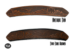 "Full grain American vegetable tanned cowhide approx. 1/8""thick. Width 1 1/2"" and includes Antique Nickle plated Solid Brass buckle Hand Finished in 3 color options Smooth burnished painted edges Choose with or without name, if without name, design will cover entire length of belt For name Type name desired on belt in ""Type Name Here"" section, no more than 8 letters maximum Buckle snaps in place for easy changing if desired Made in our Smyrna, TN, USA shop Belt Sizing Instructions"