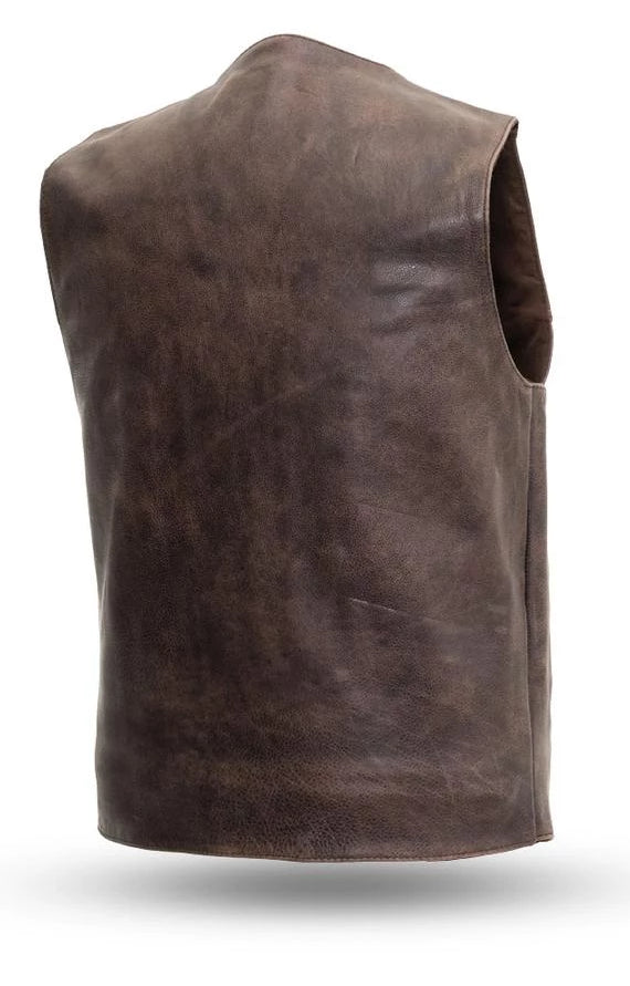 Western Brown Leather Vest