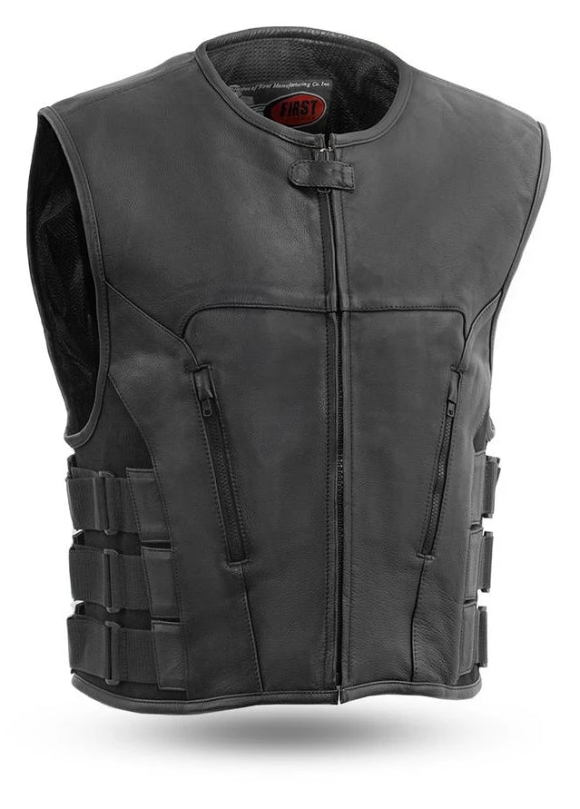 This swat style black leather vest has a zipper front closure and no collar. It is made from soft cowhide and has 3 velcro and nylon webbing adjustable straps on each side. It has 2 zipper style side front pockets on the outside and inside has conceal carry pockets on each side. Available for purchase in our shop in Smyrna, TN, just outside of Nashville. Available in sizes small to 5x.
