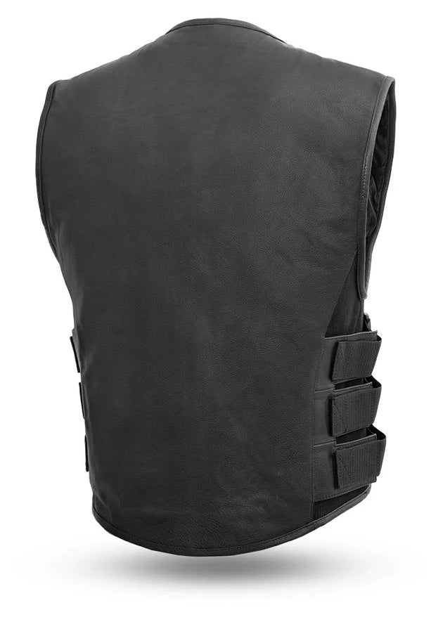 back view of swat style black leather vest. It has a zipper front closure and no collar. It is made from soft cowhide and has 3 velcro and nylon webbing adjustable straps on each side. It has 2 zipper style side front pockets on the outside and inside has conceal carry pockets on each side. Available for purchase in our shop in Smyrna, TN, just outside of Nashville. Available in sizes small to 5x.