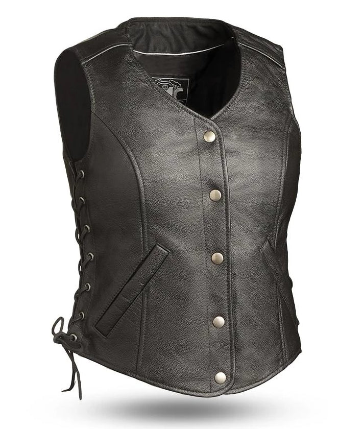 Ladies black leather riding vest has side laces, rounded v-neck collar, and has snap together front closure. It has two welt hip pockets and conceal carry inner front pockets. It has a single panel back.  Available for purchase in our shop in Smyrna, TN, just outside Nashville.  Available in sizes XS to 5X and is available in tall length.