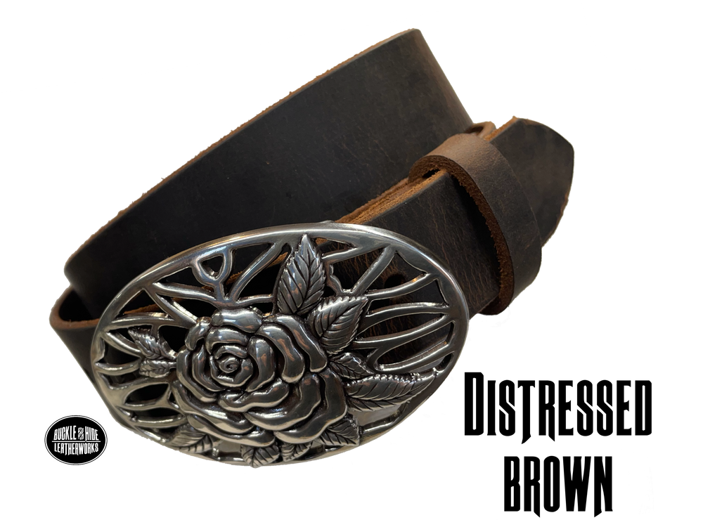 "A Filigreed Rose design in Antique Nickel that looks great on plain 1 1/2"" Black or Brown belt. Choose ONE belt strip color! A easy to wear oval shape that's not too big, measures approx. 3 7/8"" wide by 2 1/2"" tall. Belt is made from a single strip of leather in our shop in Smyrna, TN. Buckle is Imported. Available in our shop just outside Nashville in Smyrna, TN as well as online. Distressed brown belt."