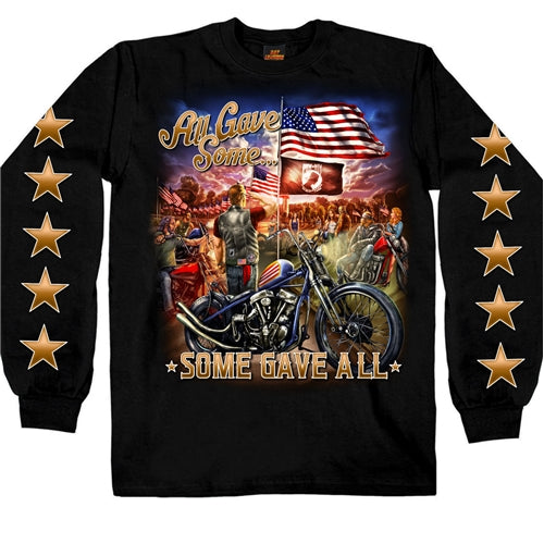 "Just like Billy Ray sang ""All gave Some, Some gave All"". Show your Patriotism with this Cotton blend Long sleeves with Patriotic front and Stars sleeves graphics."