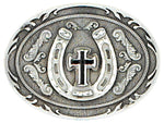 Antique Pewter Horseshoe Cross Belt Buckle