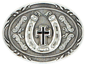 Pewter Horseshoe Cross Belt Buckle