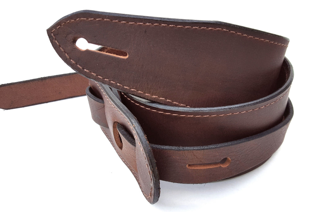 Classic Brown Leather Guitar Strap with Stitched Edges