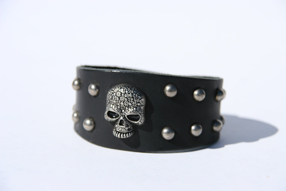 Flower Skull Studded Leather Bracelet